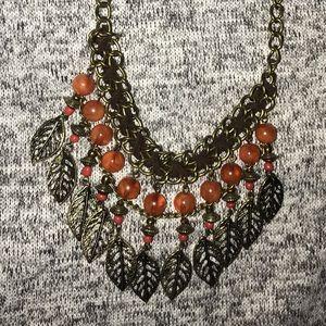 Gold•Brown Leaf Necklace